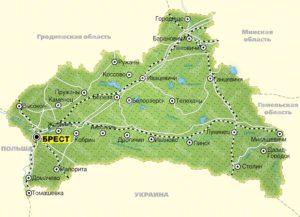 Брестская область на карте.