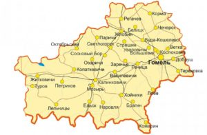 Гомельская область на карте.