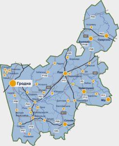 Гродненская область на карте.