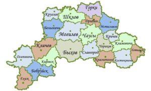 Могилёвская область на карте.