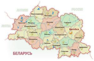 Витебская область на карте.