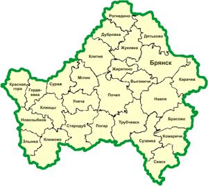 Брянская область на карте.